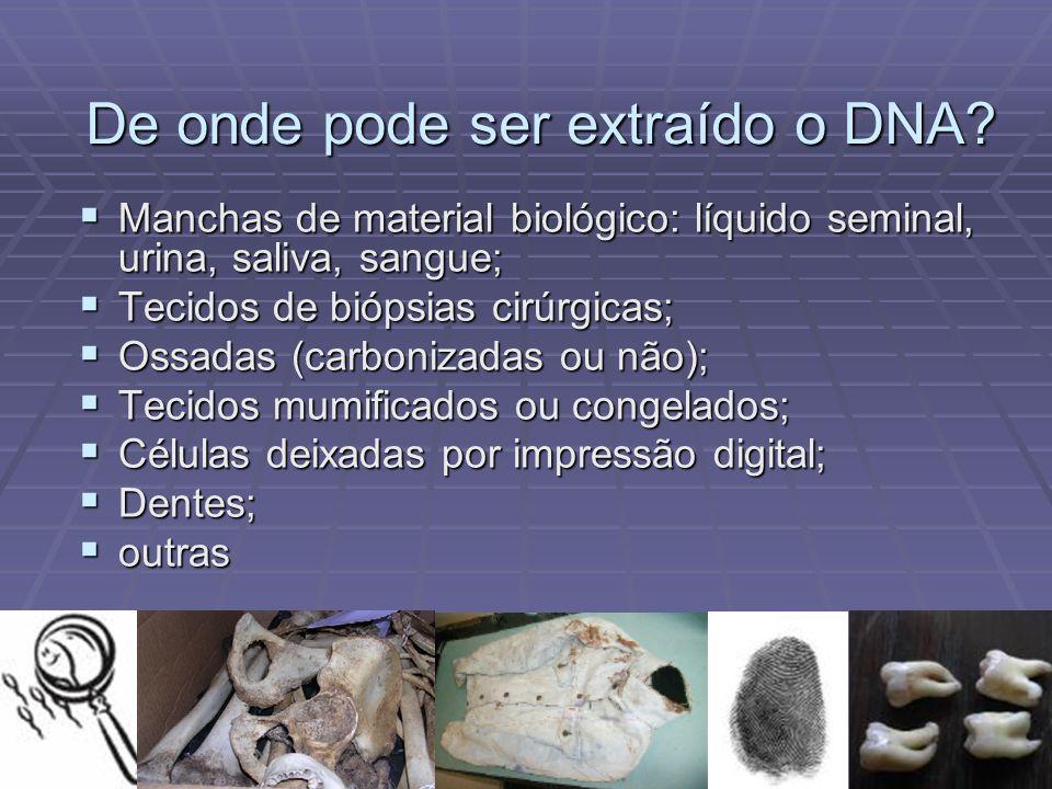 De onde pode ser extraído o DNA? Manchas de material biológico: líquido seminal, urina, saliva, sangue; Manchas de material biológico: líquido seminal