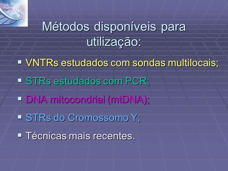 Métodos disponíveis para utilização: VNTRs estudados com sondas multilocais; VNTRs estudados com sondas multilocais; STRs estudados com PCR; STRs estu