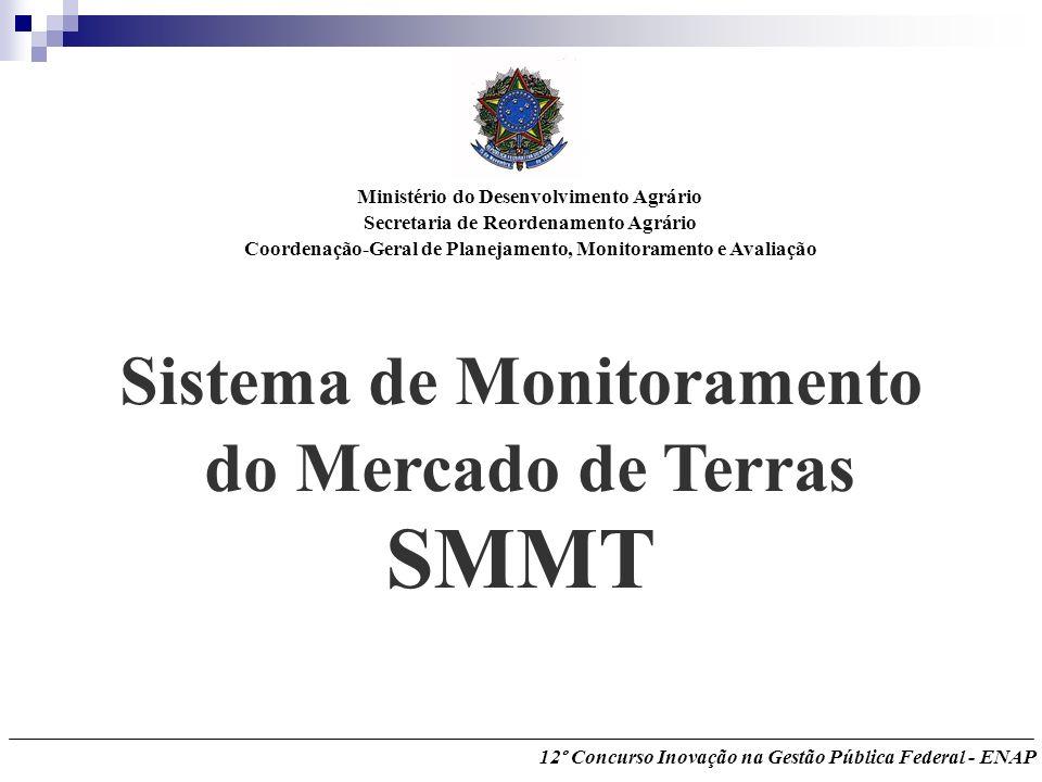 Sistema de Monitoramento do Mercado de Terras SMMT Ministério do Desenvolvimento Agrário Secretaria de Reordenamento Agrário Coordenação-Geral de Plan