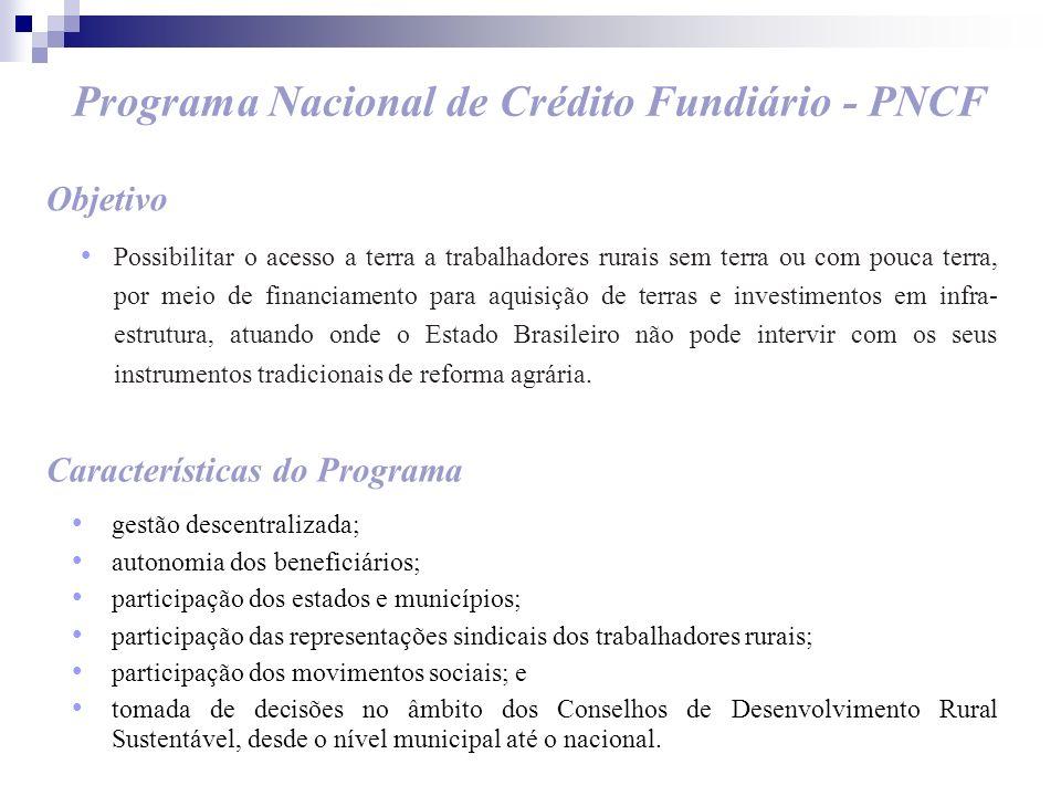 Programa Nacional de Crédito Fundiário - PNCF Objetivo Possibilitar o acesso a terra a trabalhadores rurais sem terra ou com pouca terra, por meio de
