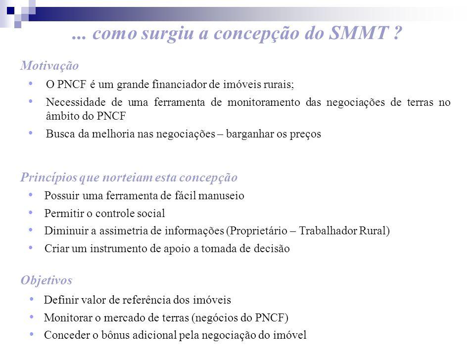 ... como surgiu a concepção do SMMT ? Motivação O PNCF é um grande financiador de imóveis rurais; Necessidade de uma ferramenta de monitoramento das n