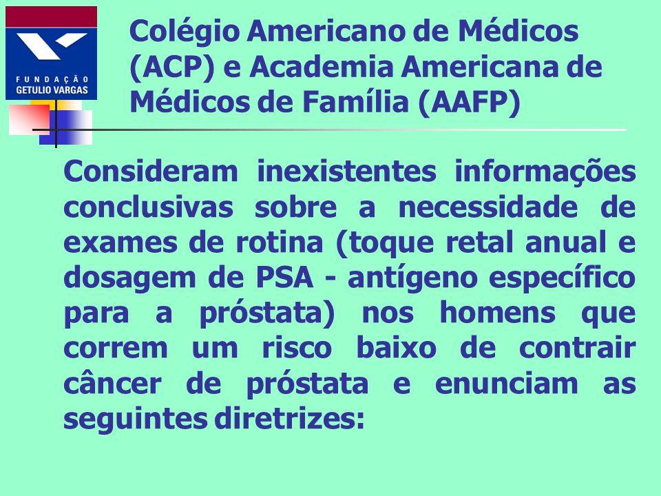 Colégio Americano de Médicos (ACP) e Academia Americana de Médicos de Família (AAFP) Consideram inexistentes informações conclusivas sobre a necessida