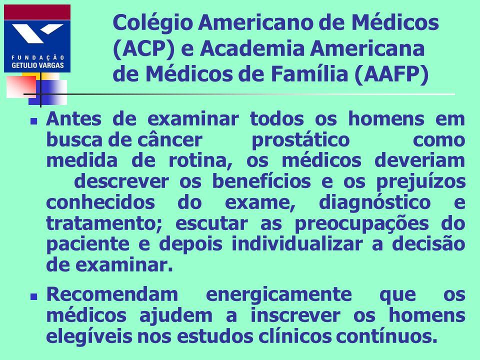 Colégio Americano de Médicos (ACP) e Academia Americana de Médicos de Família (AAFP) Antes de examinar todos os homens em busca de câncer prostático c