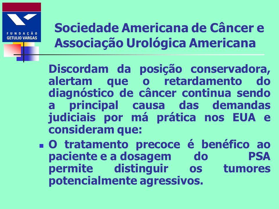 Sociedade Americana de Câncer e Associação Urológica Americana Discordam da posição conservadora, alertam que o retardamento do diagnóstico de câncer