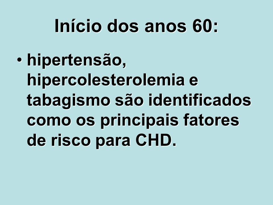 Início dos anos 60: hipertensão, hipercolesterolemia e tabagismo são identificados como os principais fatores de risco para CHD.hipertensão, hipercole