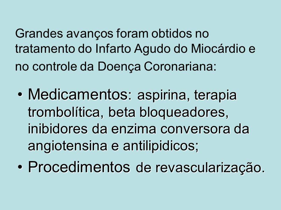 Grandes avanços foram obtidos no tratamento do Infarto Agudo do Miocárdio e no controle da Doença Coronariana: Medicamentos : aspirina, terapia trombo