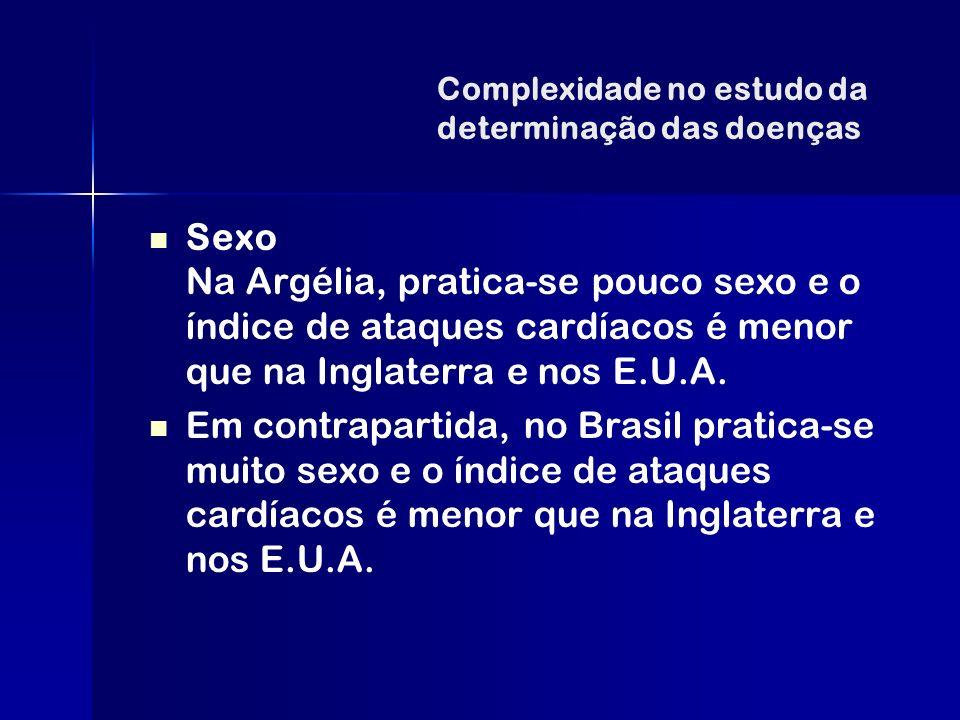 Complexidade no estudo da determinação das doenças Sexo Na Argélia, pratica-se pouco sexo e o índice de ataques cardíacos é menor que na Inglaterra e