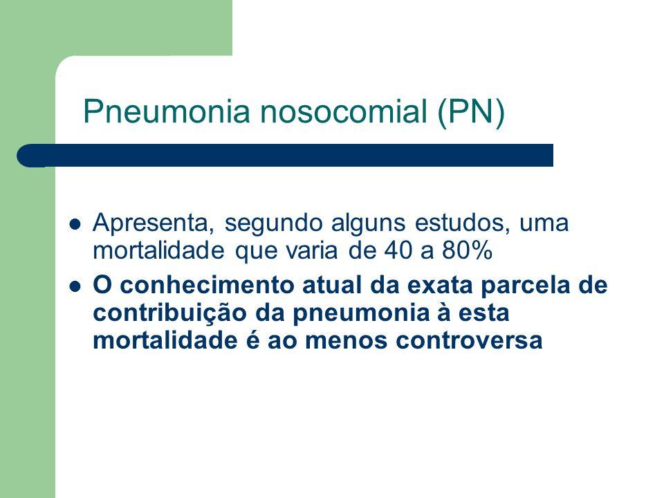Pneumonia nosocomial (PN) Apresenta, segundo alguns estudos, uma mortalidade que varia de 40 a 80% O conhecimento atual da exata parcela de contribuiç