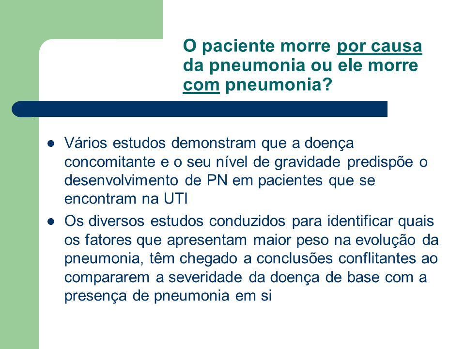 O paciente morre por causa da pneumonia ou ele morre com pneumonia? Vários estudos demonstram que a doença concomitante e o seu nível de gravidade pre