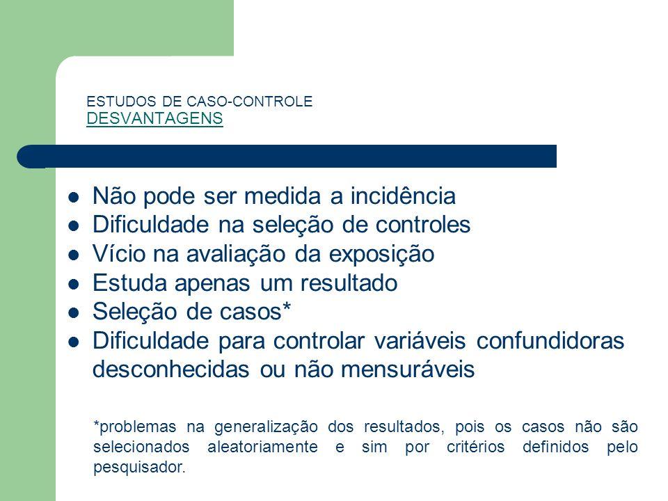ESTUDOS DE CASO-CONTROLE DESVANTAGENS Não pode ser medida a incidência Dificuldade na seleção de controles Vício na avaliação da exposição Estuda apen