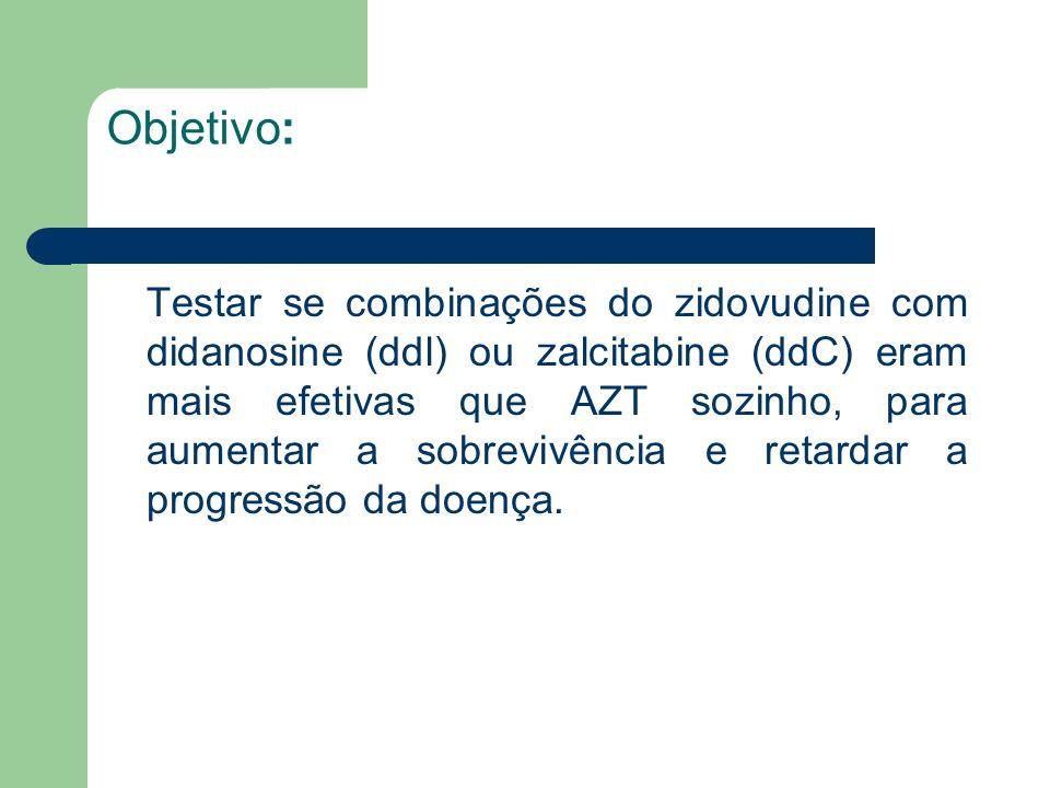 Objetivo: Testar se combinações do zidovudine com didanosine (ddl) ou zalcitabine (ddC) eram mais efetivas que AZT sozinho, para aumentar a sobrevivên