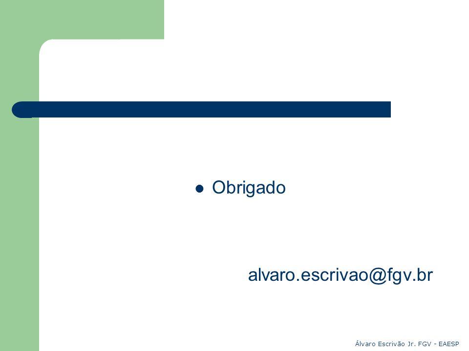 Obrigado alvaro.escrivao@fgv.br Álvaro Escrivão Jr. FGV - EAESP
