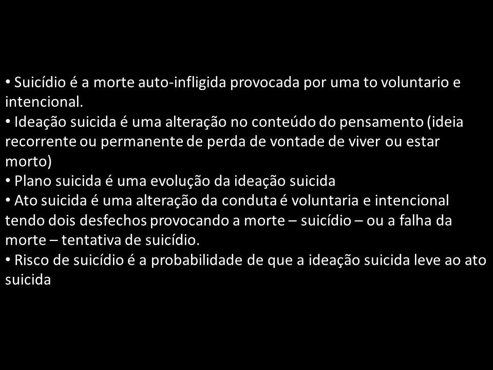 Suicídio é a morte auto-infligida provocada por uma to voluntario e intencional.
