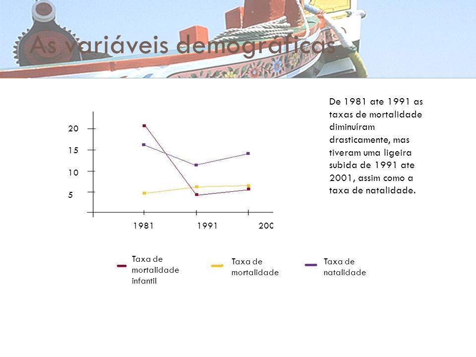 As variáveis demográficas 20 15 10 5 1981 1991 2001 Taxa de mortalidade infantil Taxa de mortalidade Taxa de natalidade De 1981 ate 1991 as taxas de m