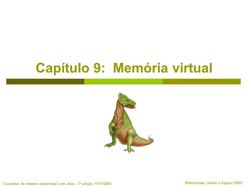 9.52 Silberschatz, Galvin e Gagne ©2007 Conceitos de sistema opeacional com Java – 7a edição, 15/11/2006 Arquivos mapeados na memória E/S de arquivo mapeado na memória permite que a E/S de arquivo seja tratada como acesso de rotina à memória, mapeando um bloco de disco para uma página na memória Um arquivo é lido inicialmente usando paginação por demanda.