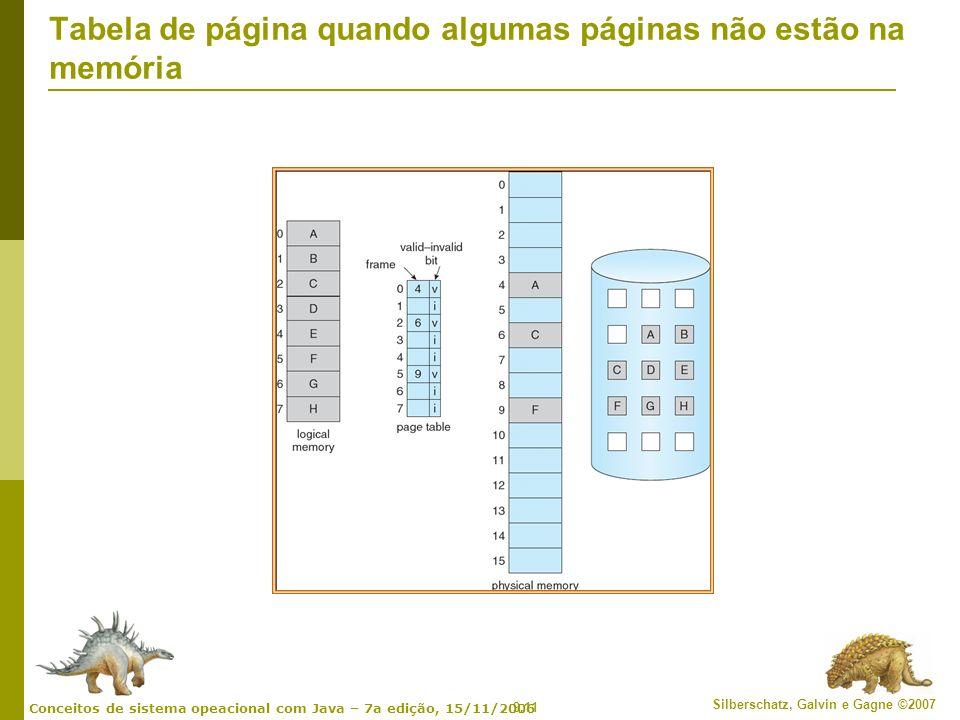 9.11 Silberschatz, Galvin e Gagne ©2007 Conceitos de sistema opeacional com Java – 7a edição, 15/11/2006 Tabela de página quando algumas páginas não e