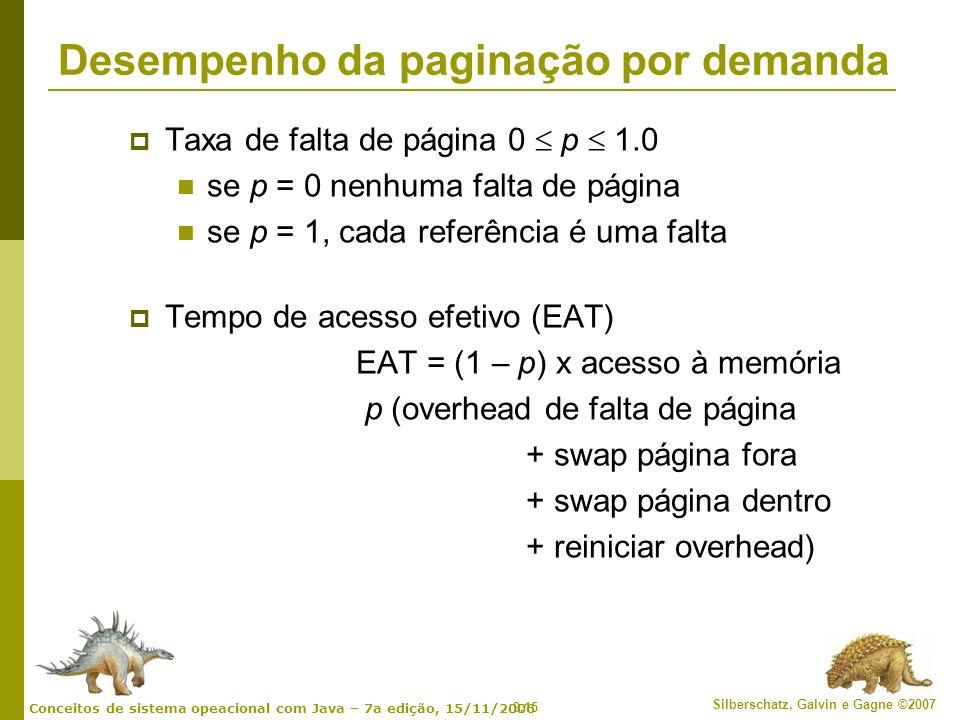 9.15 Silberschatz, Galvin e Gagne ©2007 Conceitos de sistema opeacional com Java – 7a edição, 15/11/2006 Desempenho da paginação por demanda Taxa de f