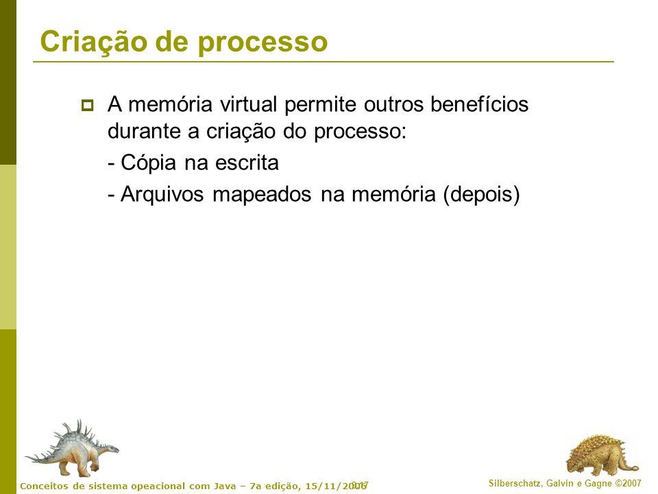9.17 Silberschatz, Galvin e Gagne ©2007 Conceitos de sistema opeacional com Java – 7a edição, 15/11/2006 Criação de processo A memória virtual permite