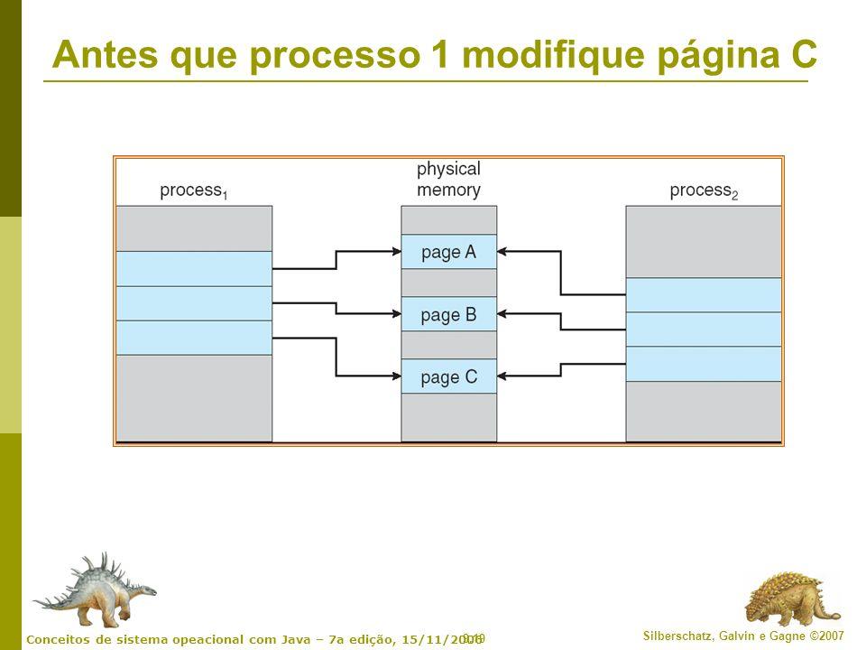 9.19 Silberschatz, Galvin e Gagne ©2007 Conceitos de sistema opeacional com Java – 7a edição, 15/11/2006 Antes que processo 1 modifique página C