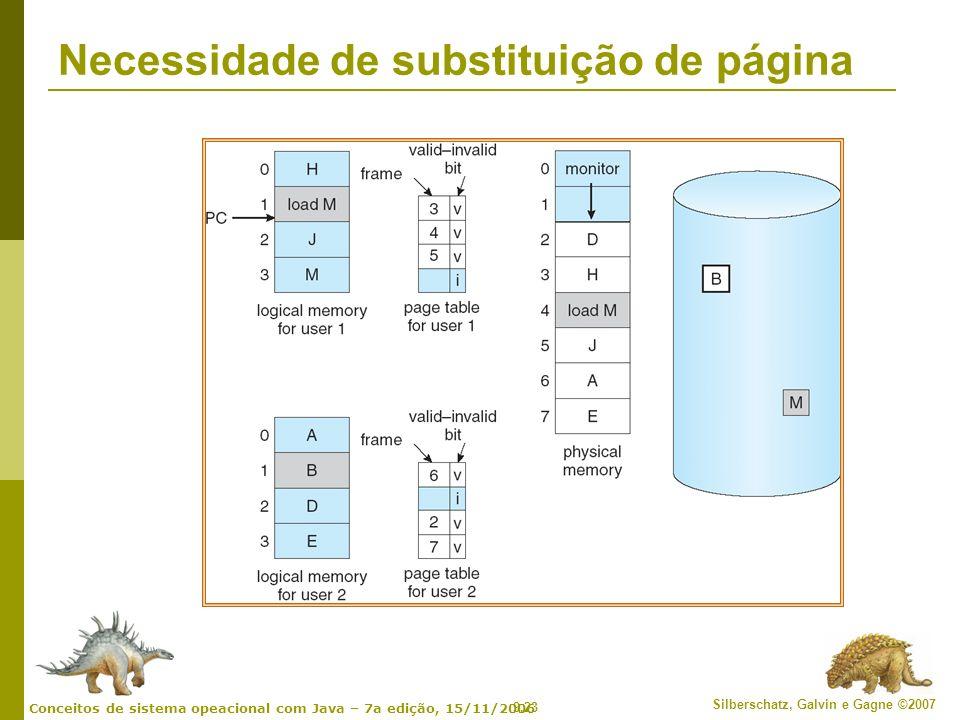 9.23 Silberschatz, Galvin e Gagne ©2007 Conceitos de sistema opeacional com Java – 7a edição, 15/11/2006 Necessidade de substituição de página