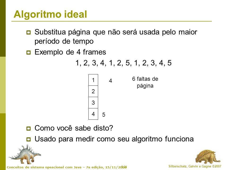9.31 Silberschatz, Galvin e Gagne ©2007 Conceitos de sistema opeacional com Java – 7a edição, 15/11/2006 Algoritmo ideal Substitua página que não será