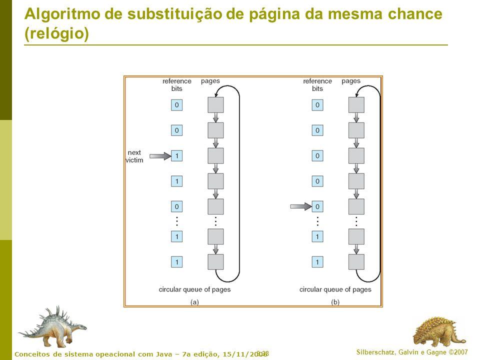 9.38 Silberschatz, Galvin e Gagne ©2007 Conceitos de sistema opeacional com Java – 7a edição, 15/11/2006 Algoritmo de substituição de página da mesma