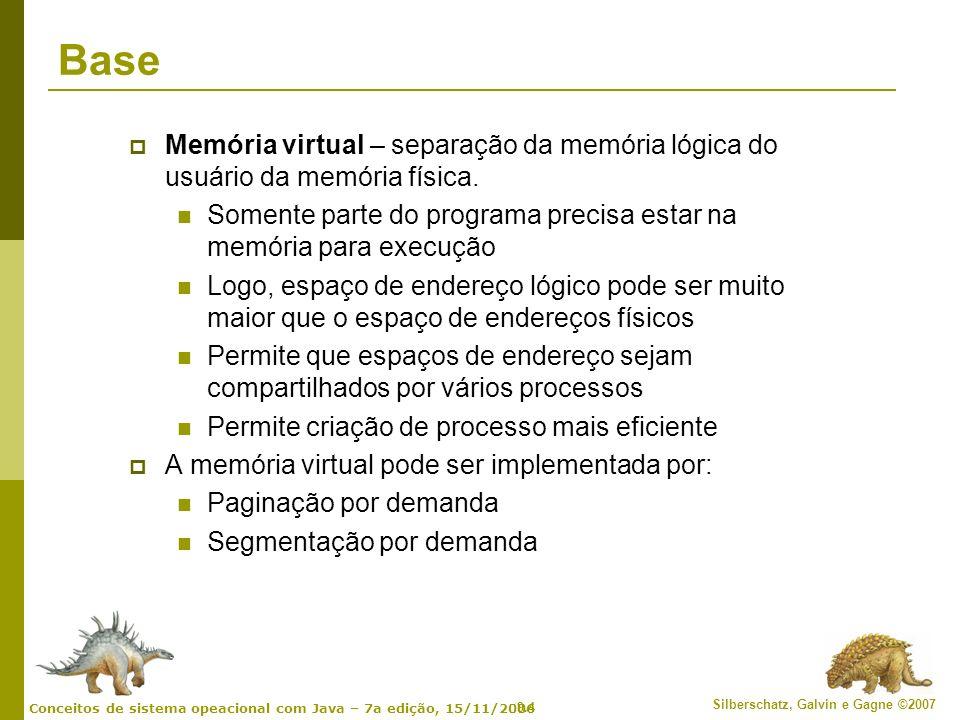 9.4 Silberschatz, Galvin e Gagne ©2007 Conceitos de sistema opeacional com Java – 7a edição, 15/11/2006 Base Memória virtual – separação da memória ló