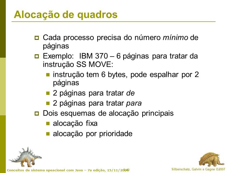 9.40 Silberschatz, Galvin e Gagne ©2007 Conceitos de sistema opeacional com Java – 7a edição, 15/11/2006 Alocação de quadros Cada processo precisa do