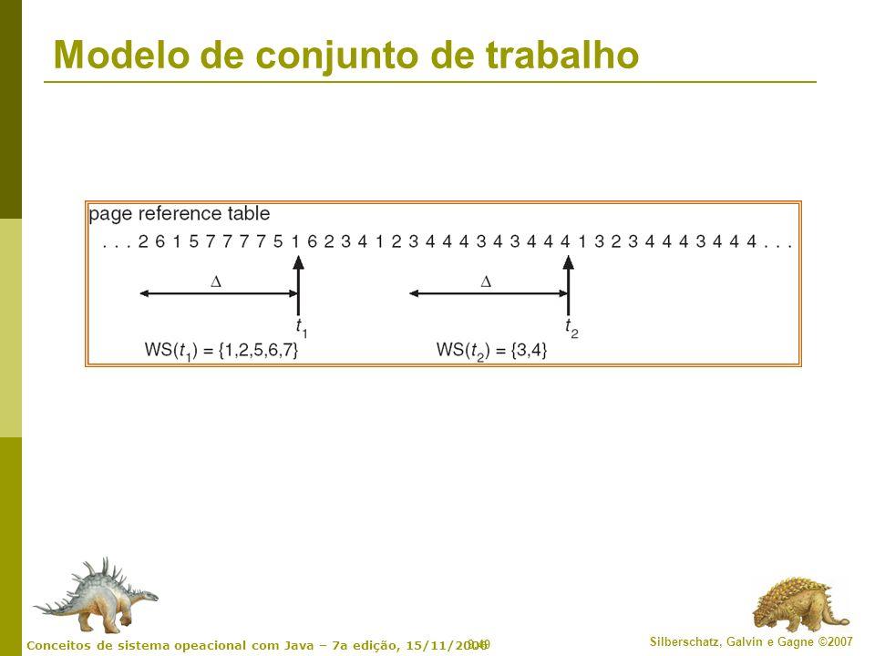 9.49 Silberschatz, Galvin e Gagne ©2007 Conceitos de sistema opeacional com Java – 7a edição, 15/11/2006 Modelo de conjunto de trabalho
