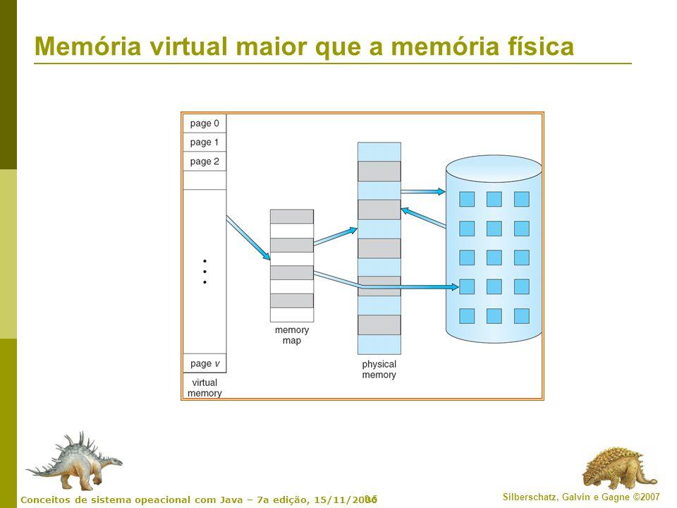 9.16 Silberschatz, Galvin e Gagne ©2007 Conceitos de sistema opeacional com Java – 7a edição, 15/11/2006 Exemplo de paginação por demanda Tempo de acesso à memória = 200 nanossegundos Tempo médio de serviço de falta de página = 8 milissegundos EAT = (1 – p) x 200 + p (8 milissegundos) = (1 – p x 200 + p x 8.000.000 = 200 + p x 7.999.800 Se um acesso dentre 1.000 causar uma falta de página, então EAT = 8.2 microssegundos.
