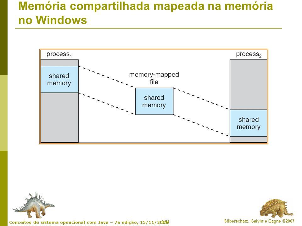 9.54 Silberschatz, Galvin e Gagne ©2007 Conceitos de sistema opeacional com Java – 7a edição, 15/11/2006 Memória compartilhada mapeada na memória no W