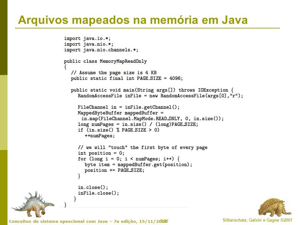 9.55 Silberschatz, Galvin e Gagne ©2007 Conceitos de sistema opeacional com Java – 7a edição, 15/11/2006 Arquivos mapeados na memória em Java