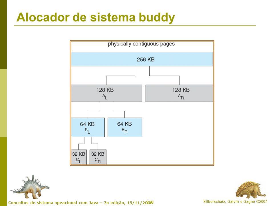 9.58 Silberschatz, Galvin e Gagne ©2007 Conceitos de sistema opeacional com Java – 7a edição, 15/11/2006 Alocador de sistema buddy