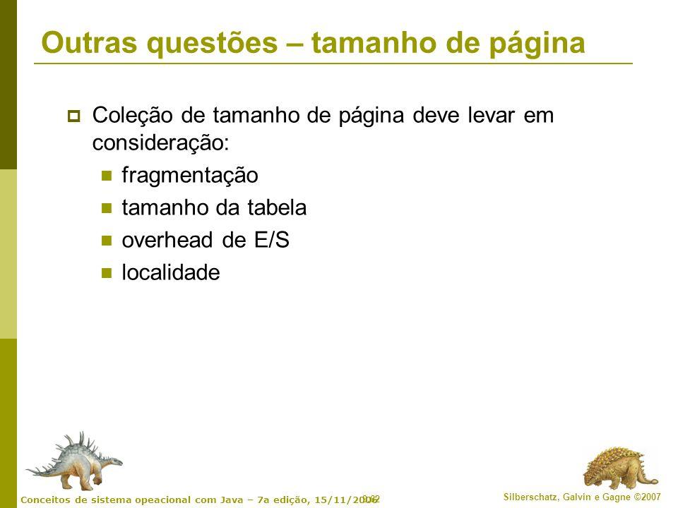 9.62 Silberschatz, Galvin e Gagne ©2007 Conceitos de sistema opeacional com Java – 7a edição, 15/11/2006 Outras questões – tamanho de página Coleção d
