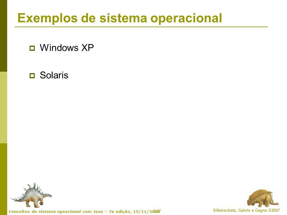 9.67 Silberschatz, Galvin e Gagne ©2007 Conceitos de sistema opeacional com Java – 7a edição, 15/11/2006 Exemplos de sistema operacional Windows XP So