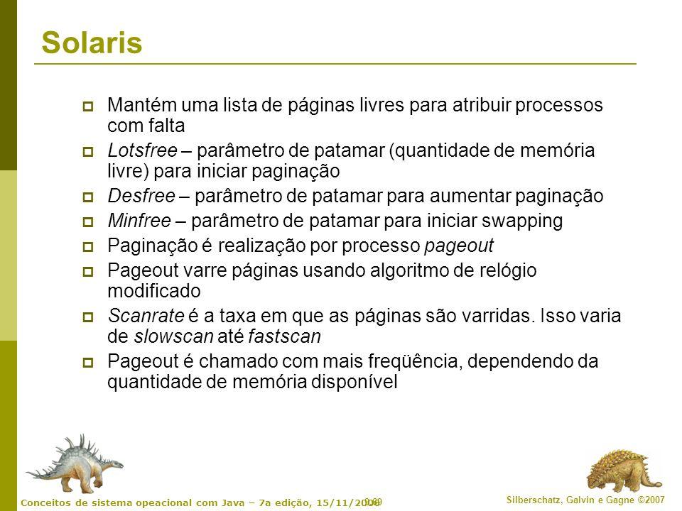 9.69 Silberschatz, Galvin e Gagne ©2007 Conceitos de sistema opeacional com Java – 7a edição, 15/11/2006 Solaris Mantém uma lista de páginas livres pa