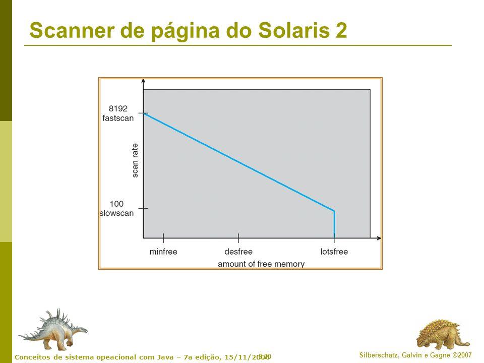 9.70 Silberschatz, Galvin e Gagne ©2007 Conceitos de sistema opeacional com Java – 7a edição, 15/11/2006 Scanner de página do Solaris 2