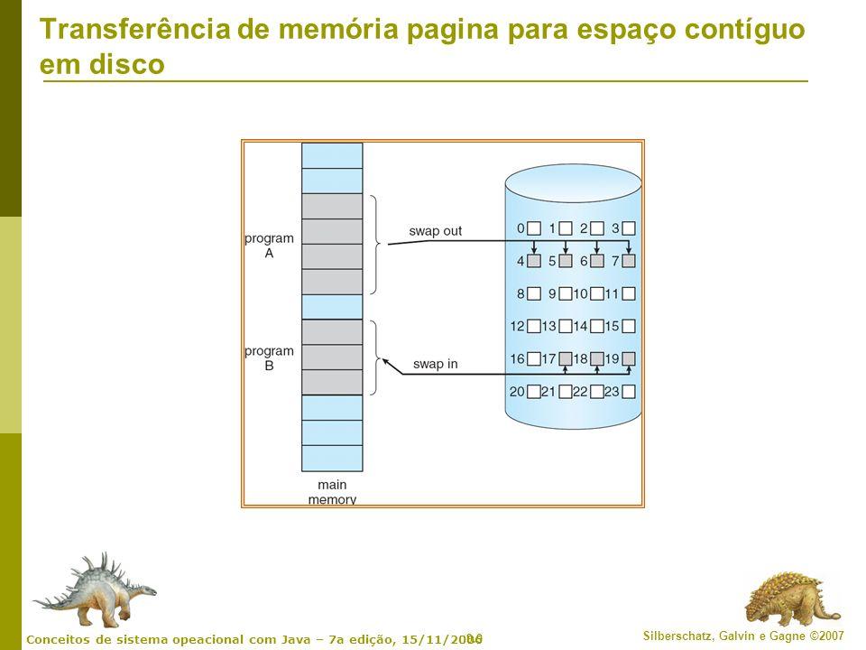 9.10 Silberschatz, Galvin e Gagne ©2007 Conceitos de sistema opeacional com Java – 7a edição, 15/11/2006 Bit válido-inválido A cada entrada de tabela de página, um bit de válido-inválido é associado (v na memória, i não-na-memória) Inicialmente, o bit válido–inválido é definido como i em todas as entradas Exemplo de um snapshot de tabela de página Durante a tradução do endereço, se o bit válido–inválido na entrada da tabela de página for I falta de página v v v v i i i ….