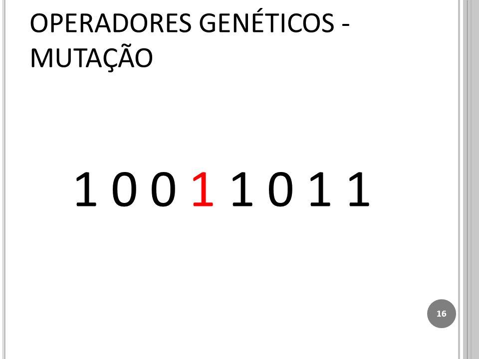 1 0 0 1 1 0 1 1 16 OPERADORES GENÉTICOS - MUTAÇÃO