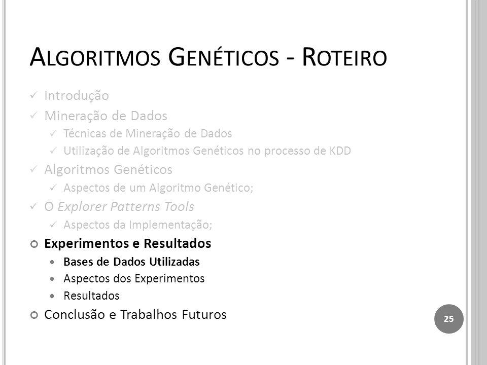 A LGORITMOS G ENÉTICOS - R OTEIRO Introdução Mineração de Dados Técnicas de Mineração de Dados Utilização de Algoritmos Genéticos no processo de KDD Algoritmos Genéticos Aspectos de um Algoritmo Genético; O Explorer Patterns Tools Aspectos da Implementação; Experimentos e Resultados Bases de Dados Utilizadas Aspectos dos Experimentos Resultados Conclusão e Trabalhos Futuros 25