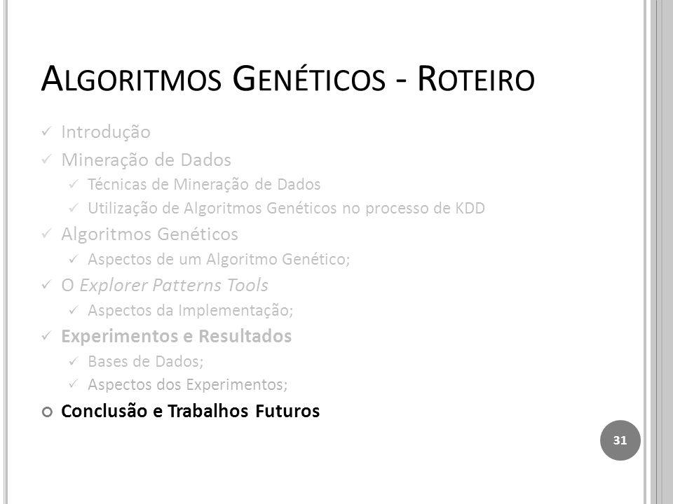 A LGORITMOS G ENÉTICOS - R OTEIRO Introdução Mineração de Dados Técnicas de Mineração de Dados Utilização de Algoritmos Genéticos no processo de KDD Algoritmos Genéticos Aspectos de um Algoritmo Genético; O Explorer Patterns Tools Aspectos da Implementação; Experimentos e Resultados Bases de Dados; Aspectos dos Experimentos; Conclusão e Trabalhos Futuros 31