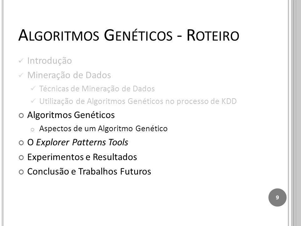 A LGORITMOS G ENÉTICOS - R OTEIRO Introdução Mineração de Dados Técnicas de Mineração de Dados Utilização de Algoritmos Genéticos no processo de KDD Algoritmos Genéticos o Aspectos de um Algoritmo Genético O Explorer Patterns Tools Experimentos e Resultados Conclusão e Trabalhos Futuros 9