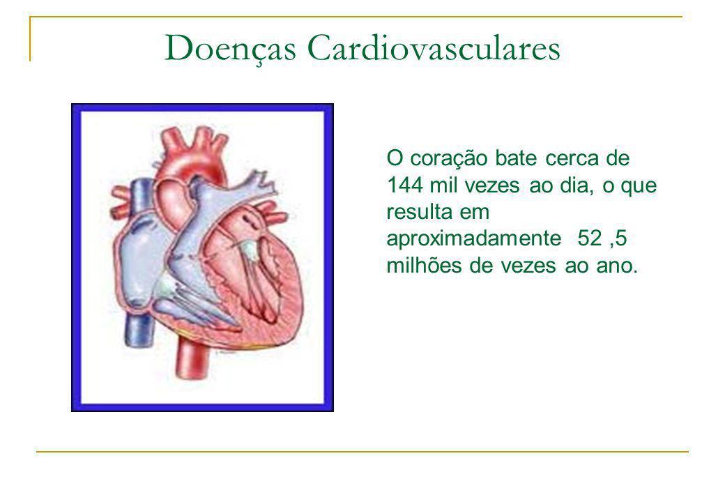Doenças Cardiovasculares O coração bate cerca de 144 mil vezes ao dia, o que resulta em aproximadamente 52,5 milhões de vezes ao ano.