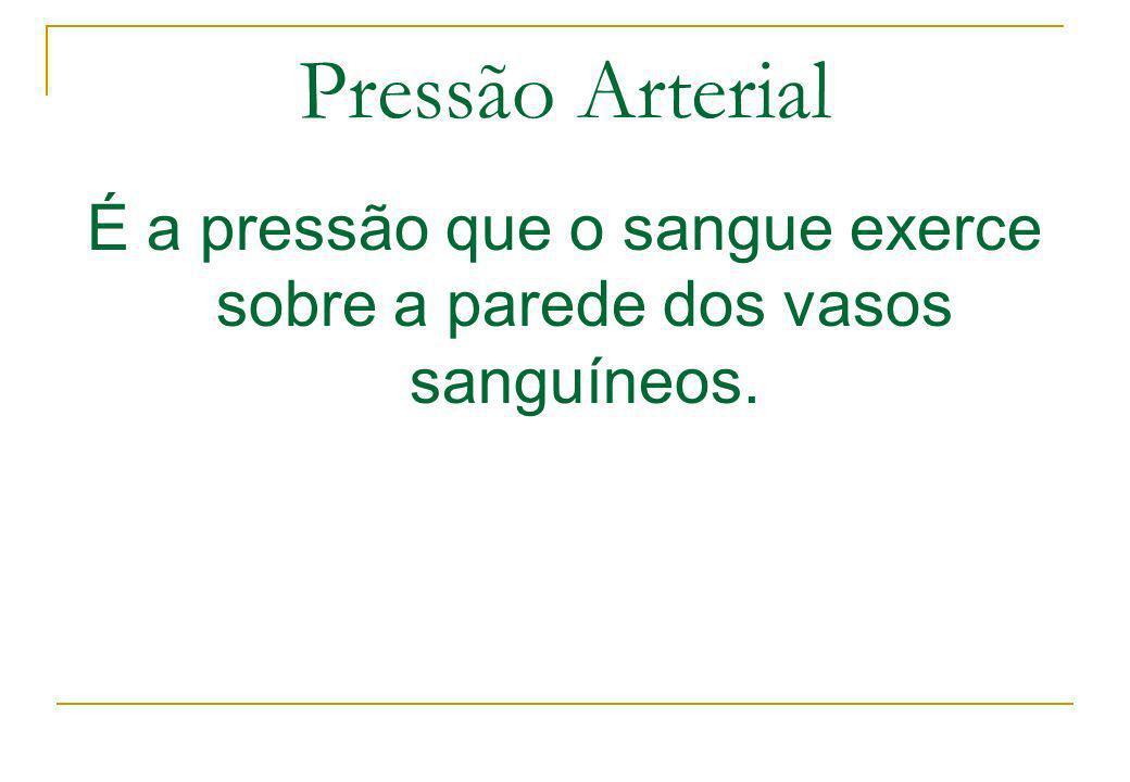 Pressão Arterial É a pressão que o sangue exerce sobre a parede dos vasos sanguíneos.