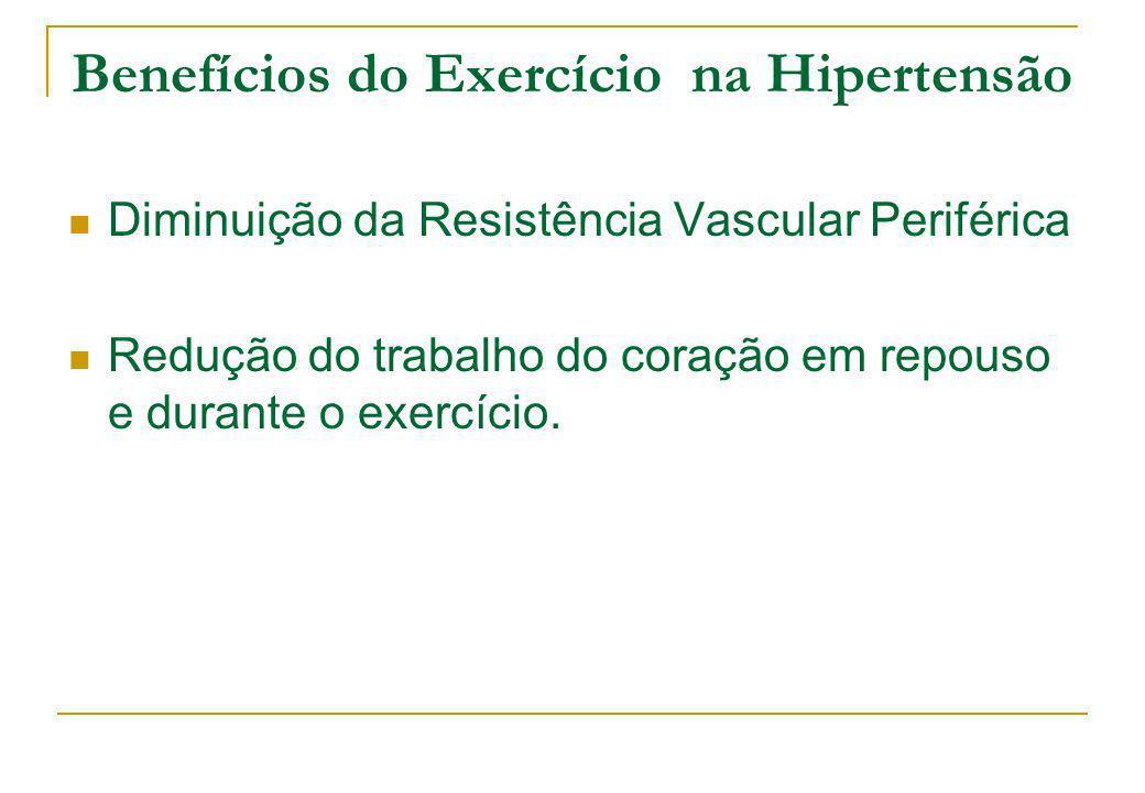 Benefícios do Exercício na Hipertensão Diminuição da Resistência Vascular Periférica Redução do trabalho do coração em repouso e durante o exercício.
