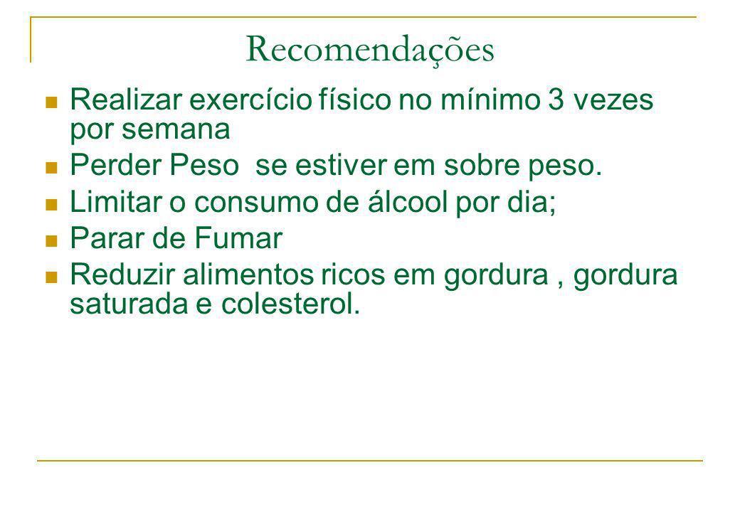 Recomendações Realizar exercício físico no mínimo 3 vezes por semana Perder Peso se estiver em sobre peso. Limitar o consumo de álcool por dia; Parar