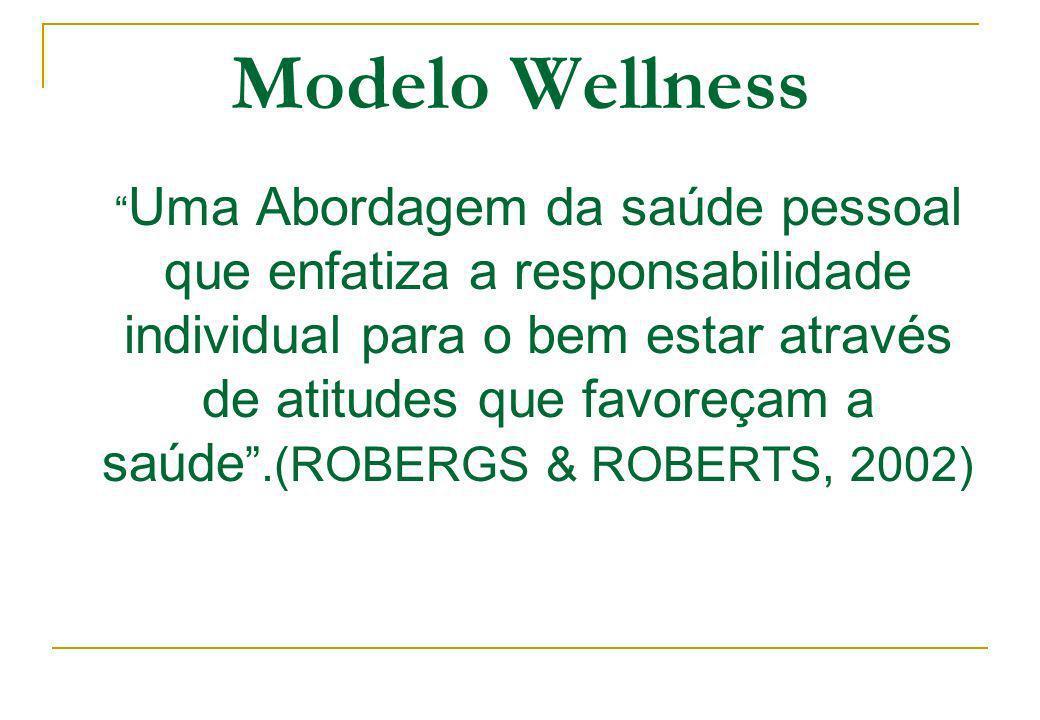 Modelo Wellness Uma Abordagem da saúde pessoal que enfatiza a responsabilidade individual para o bem estar através de atitudes que favoreçam a saúde.(