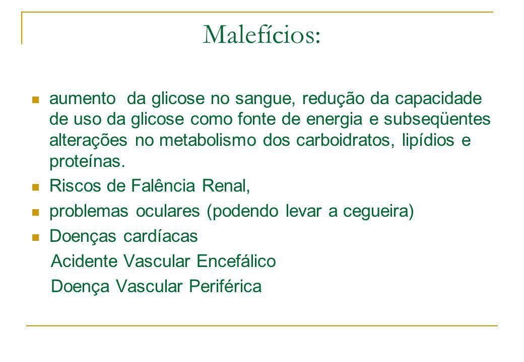 Malefícios: aumento da glicose no sangue, redução da capacidade de uso da glicose como fonte de energia e subseqüentes alterações no metabolismo dos c