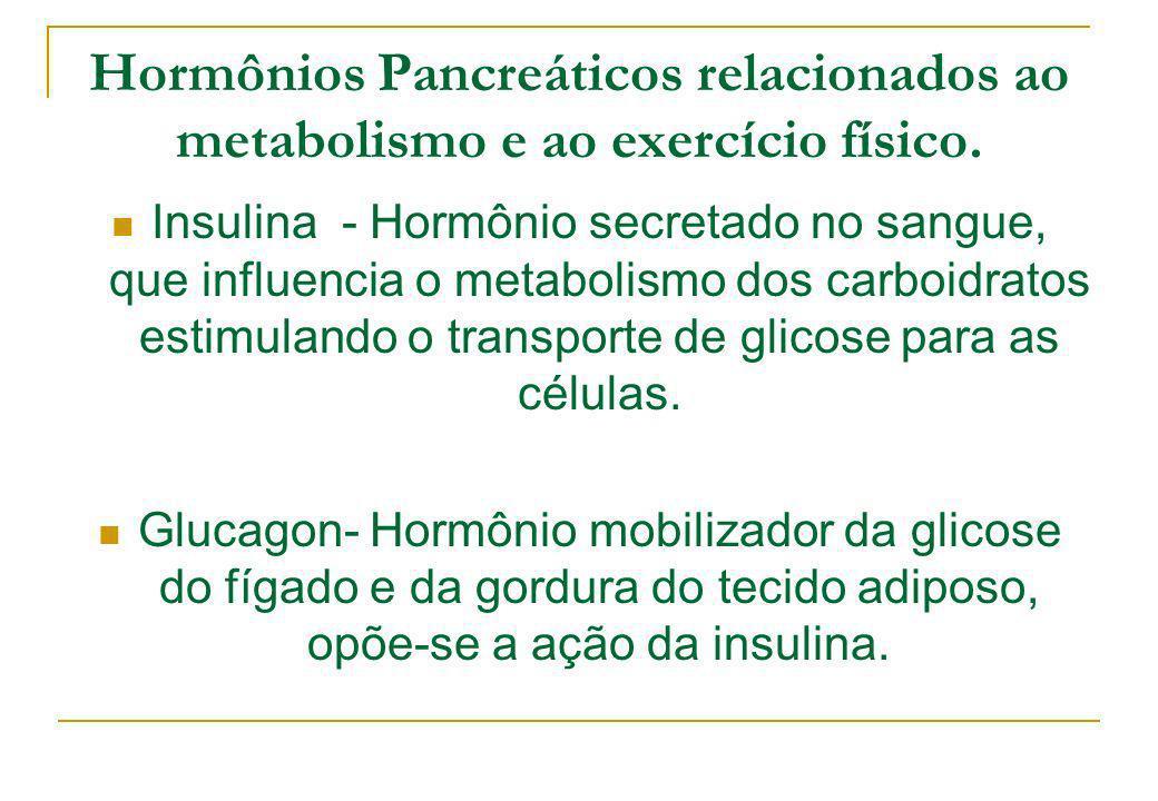 Hormônios Pancreáticos relacionados ao metabolismo e ao exercício físico. Insulina - Hormônio secretado no sangue, que influencia o metabolismo dos ca