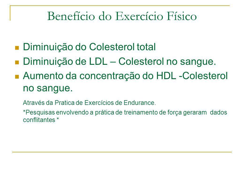 Benefício do Exercício Físico Diminuição do Colesterol total Diminuição de LDL – Colesterol no sangue. Aumento da concentração do HDL -Colesterol no s